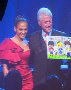 Jennifer Lopez and President Clinton