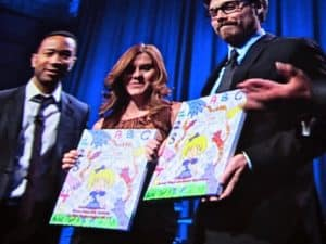 John Legend presenting HaleyMossART teacher of the year awards